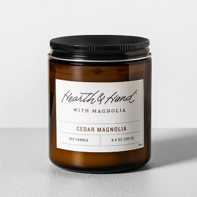 6.5oz Cedar Magnolia Amber Glass Jar Candle - Hearth & Hand™ with Magnolia