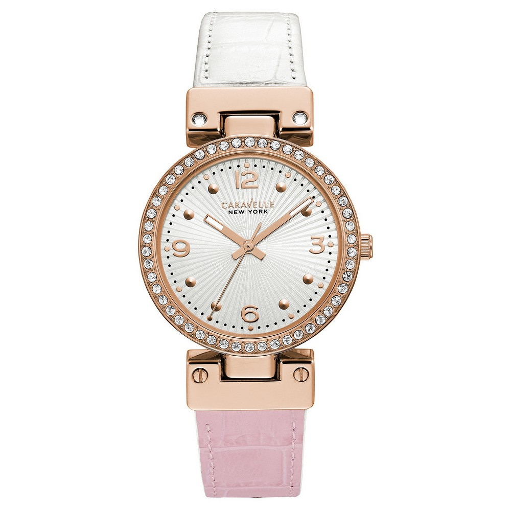 Women's Caravelle New York Reversible Strap Watch - Pink/White, Pale Pink
