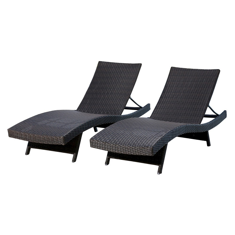 Manchester Outdoor Adjustable Wicker Chaise (Set of 2) Espresso Brown - Abbyson Living