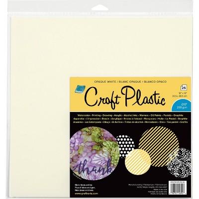 "Grafix Craft Plastic Sheets 12""X12"" 25/Pkg-Opaque White .010"