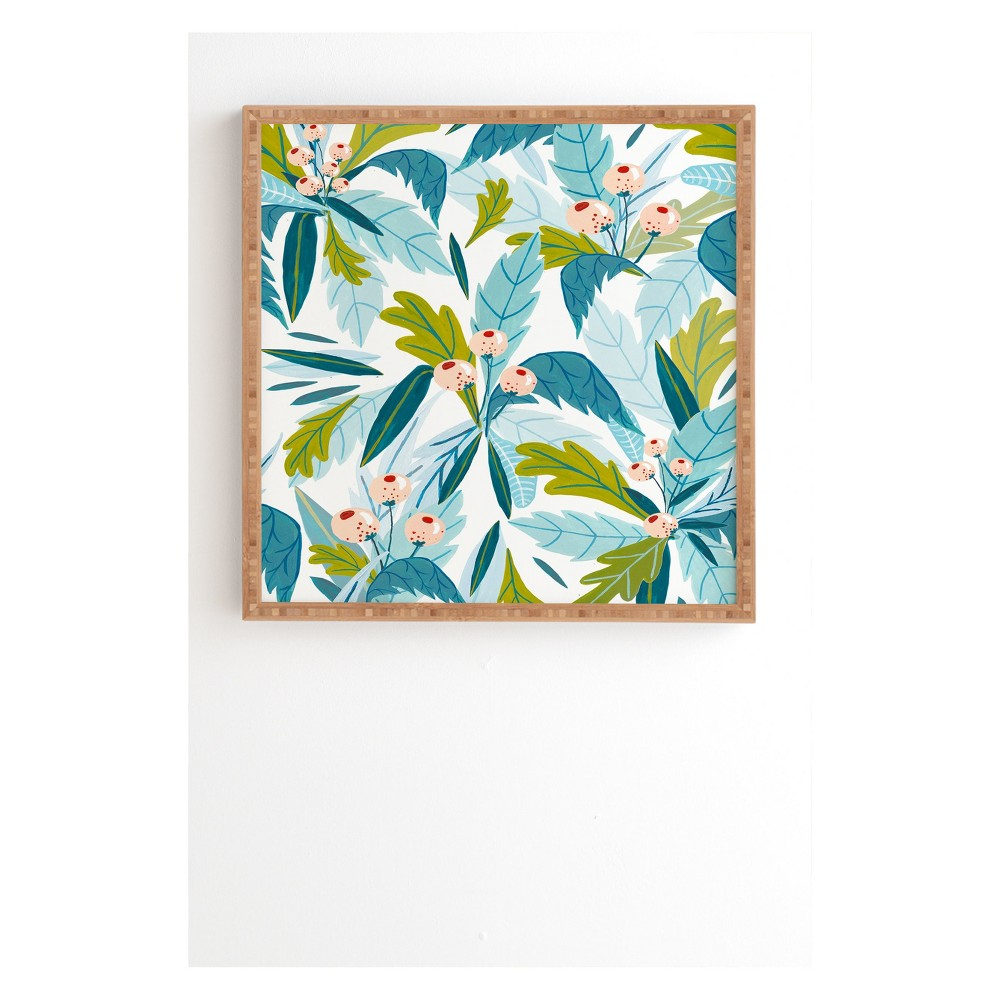 "Image of ""20"""" x 20"""" Ambers Textiles Folk Florals Framed Wall Art Blue - society6"""
