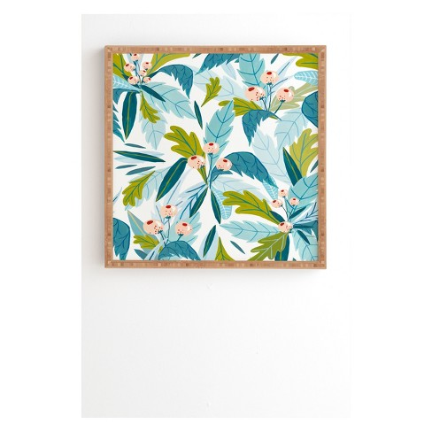 Ambers Textiles Folk Florals Framed Wall Art Blue - society6 : Target