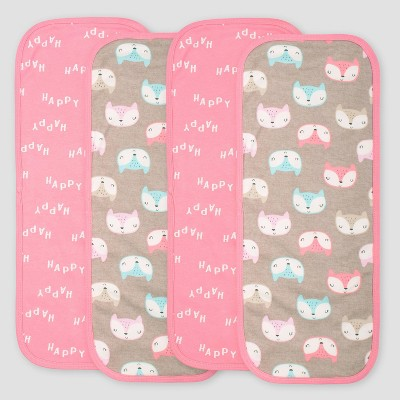 Gerber Baby Girls' 4pk Fox Burpcloths - Coral/Light Brown
