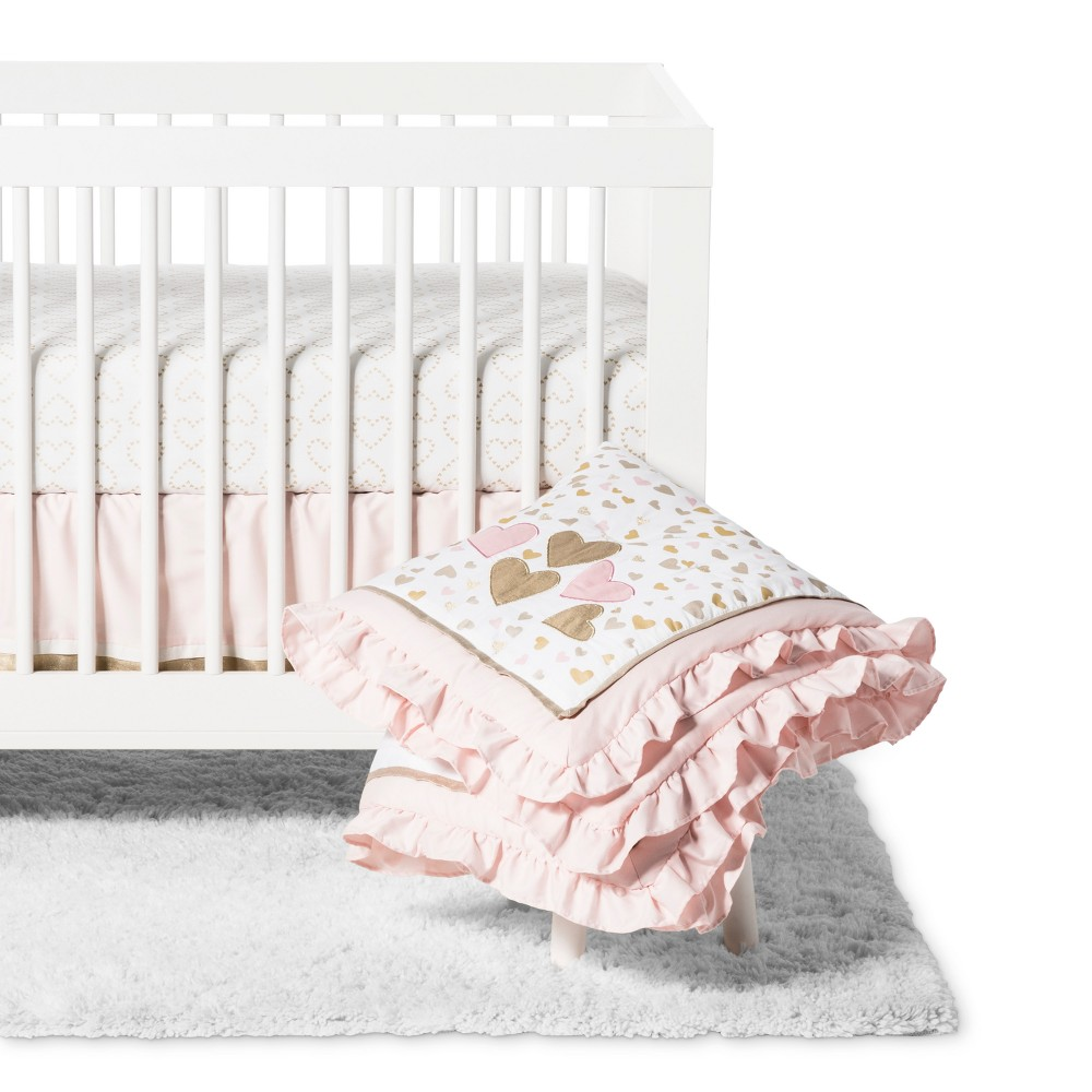 Image of Lambs & Ivy 4pc Confetti Crib Bedding Set - Pink