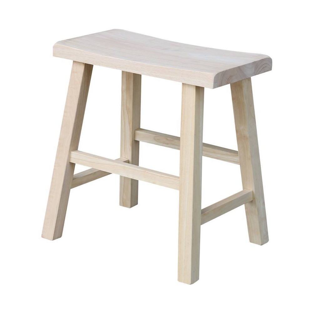 "Image of ""18"""" Saddle Seat Stool Hardwood Natural - International Concepts"""
