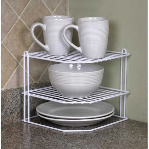 Home Basics 3 Tier Vinyl Coated Steel Corner Organizing Storage Rack, White - image 1 of 3