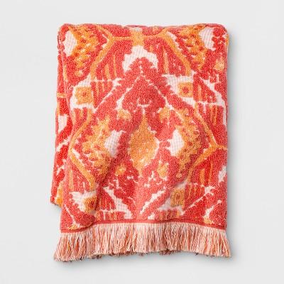 Ikat Fringed Bath Towel Coral Orange - Opalhouse™