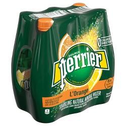 Perrier Sparkling Natural Mineral Water L'Orange/Lemon Orange - 6pk/16.9 fl oz Bottles