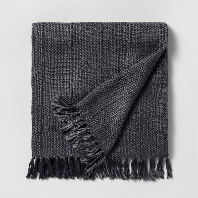 Chunky Stripe Fringe Throw Blanket Railroad Gray - Hearth & Hand™ with Magnolia