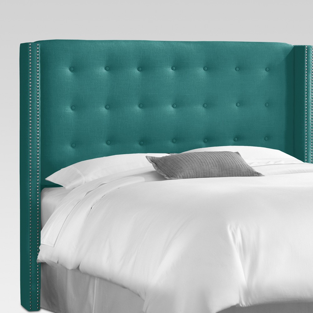 Nail Button Tufted Wingback Headboard Green - Threshold
