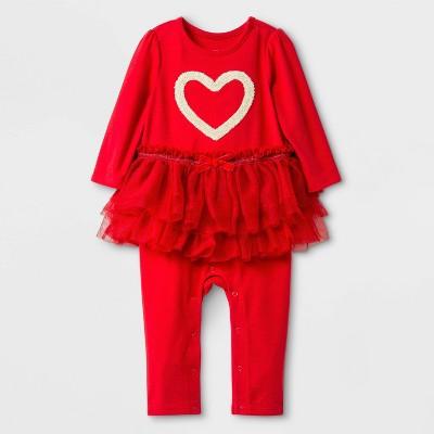 Baby Girls' Heart Tutu Romper - Cat & Jack™ Red 0-3M