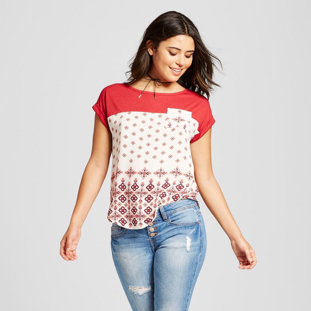 Women's Knit-to-Woven T-Shirt - Xhilaration (Juniors') Cranberry (Red) XL