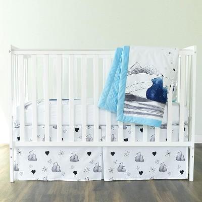 JumpOff Jo Crib Bedding Set, Includes Cotton Crib Sheet, Crib Skirt, and Minky Quilt, 3 Pieces, Mama Bear Blue