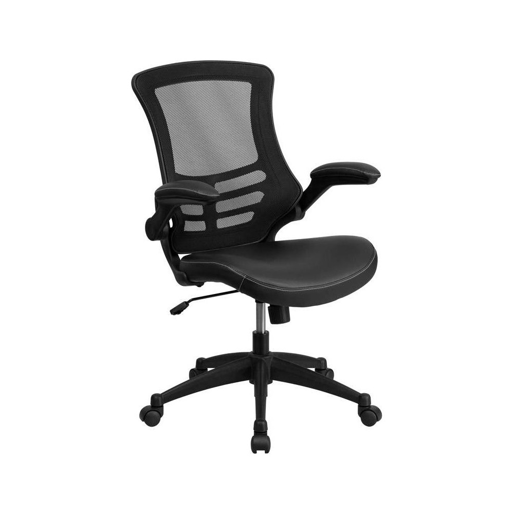 Mid Back Task Leather Chair Black - Riverstone Furniture Collection