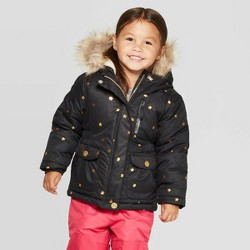 Toddler Girls' Star Long Parka - Cat & Jack™ Black