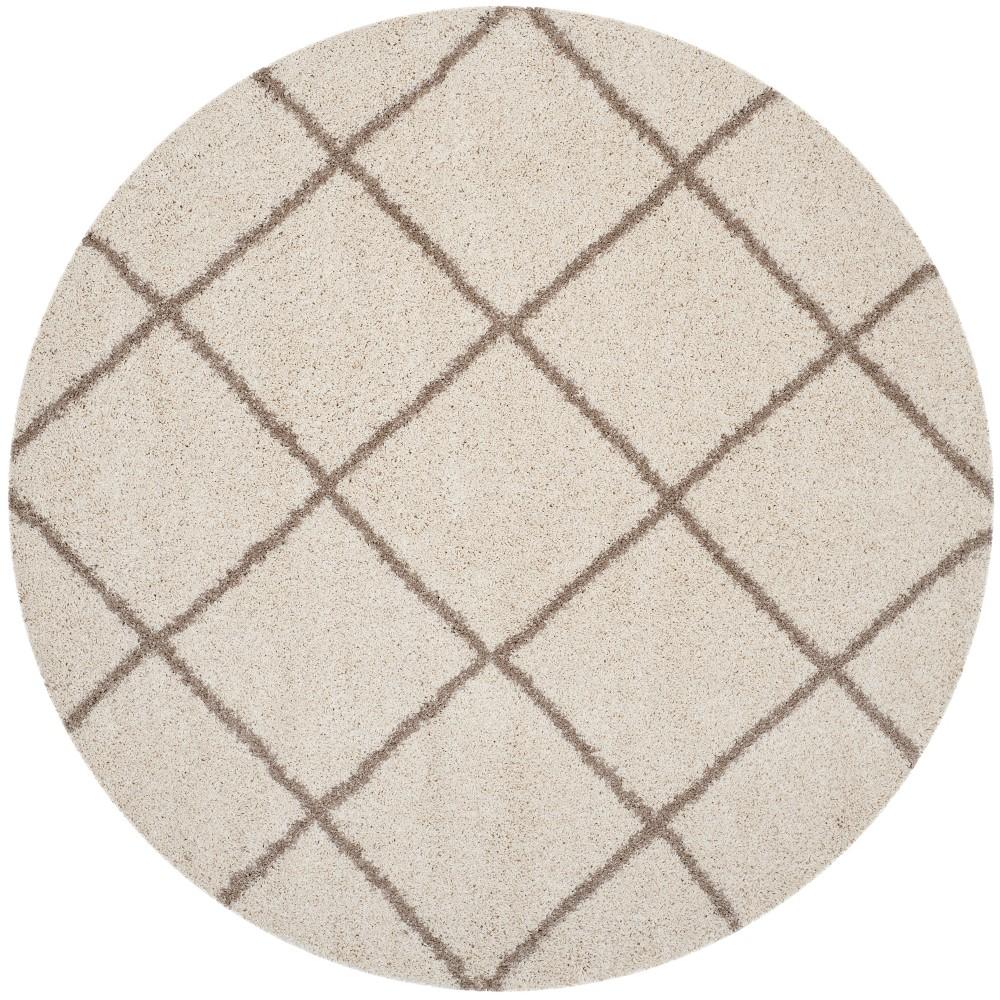 7' Geometric Loomed Round Area Rug Ivory/Beige - Safavieh