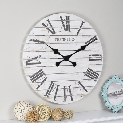 "18"" Shiplap Farmhouse Wall Clock White - FirsTime & Co."