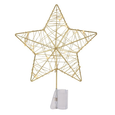 Dew Light Wrapped Star LED Christmas Tree Topper Gold - Wondershop™ - image 1 of 1