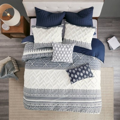 3pc Mila Cotton Printed Duvet Cover Set with Chenille Navy