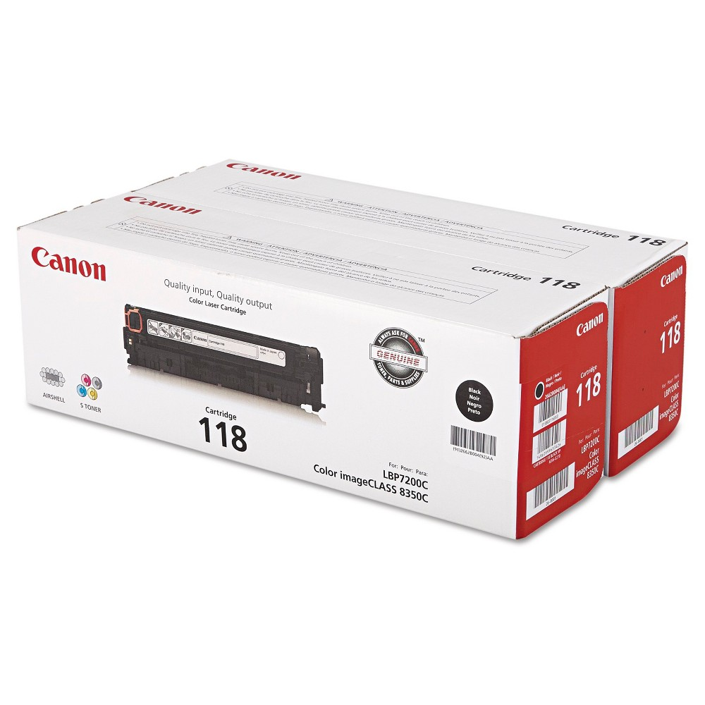 Canon (118) Toner - Black, 2/PK (2662B004) Oem reliability. Durable. Smooth print quality. Device Types: Multifunction Laser Printer; Color(s): Black; Supply Type: Toner; Market Indicator (Cartridge Number): 118.