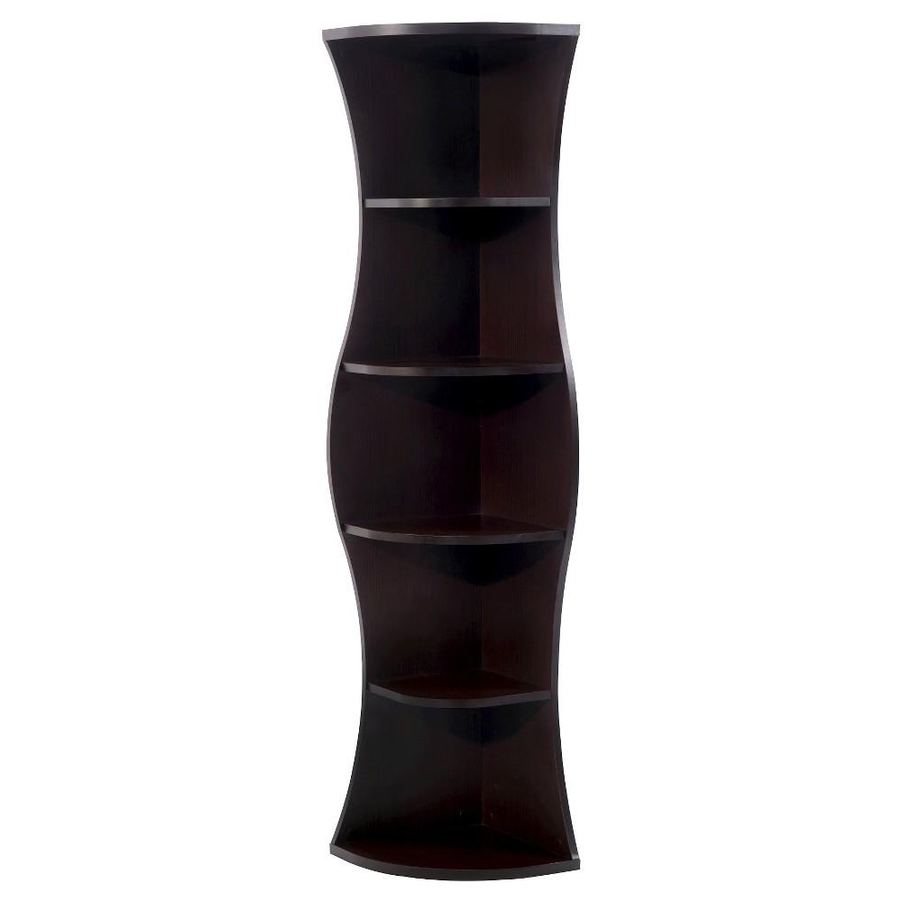 "Image of ""70.8"""" Ronni Contemporary 5 Shelf Corner Bookcase Walnut - ioHOMES"""
