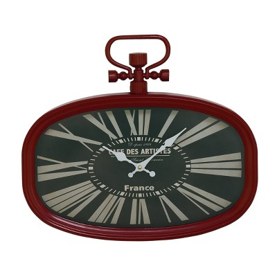 "18"" x 16"" Vintage French Style Rounded Rectangle Metal Wall Clock with Finial Red - Olivia & May"