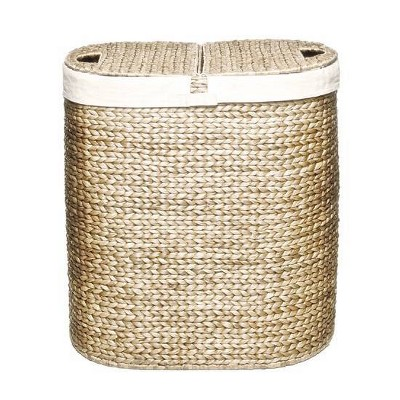 Seville Classics Water Hyacinth Lidded Oval Double Hamper Natural