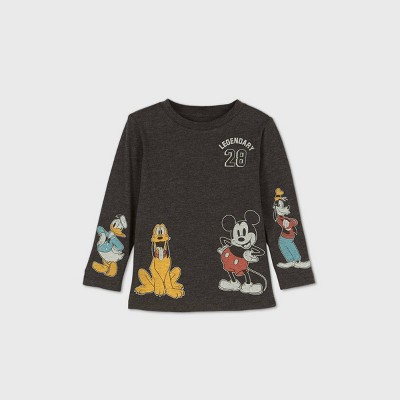 Toddler Boys' Mickey Mouse and Friends Long Sleeve Graphic T-Shirt - Gray