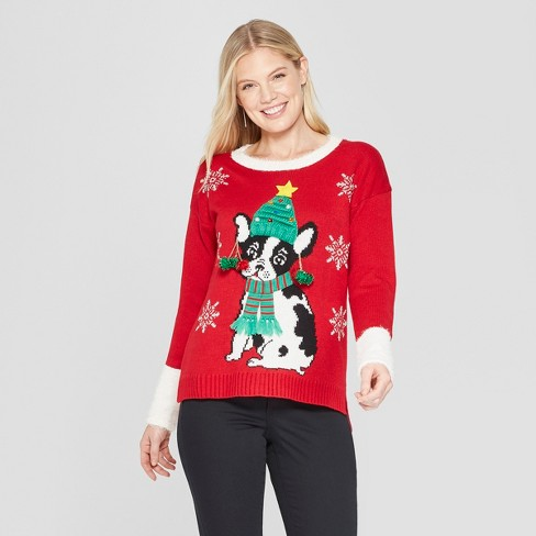 Women s Dog Christmas Ugly Sweater - 33 Degrees (Juniors ) Red S ... c49ab06e6b43