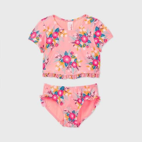 Girls' Floral Print 2pc Short Sleeve Bikini Set - Cat & Jack™ Coral - image 1 of 2