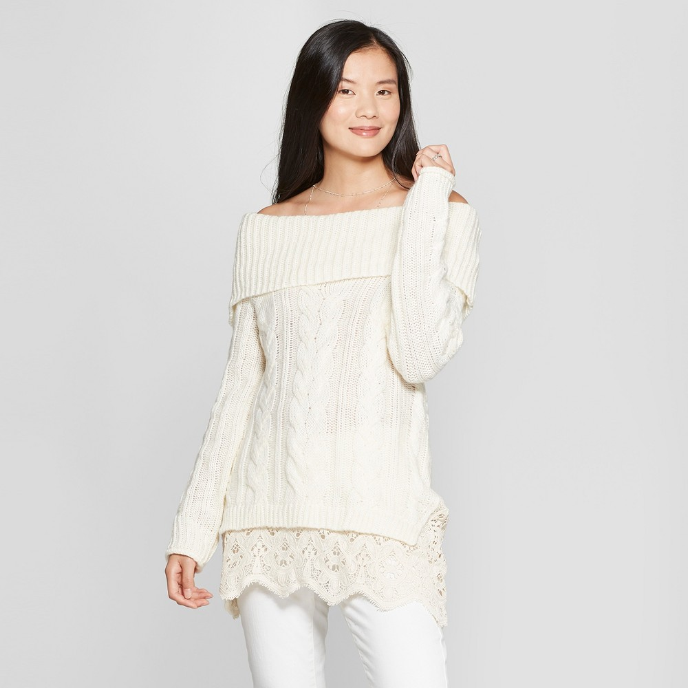 Women's Long Sleeve Twofer Marilyn Cable Knit Sweater - Knox Rose Ivory Xxl, White