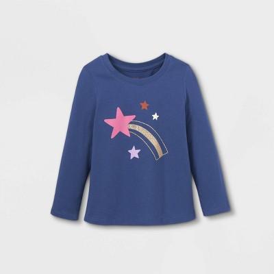 Toddler Girls' Sparkle Star Long Sleeve Graphic T-Shirt - Cat & Jack™ Navy