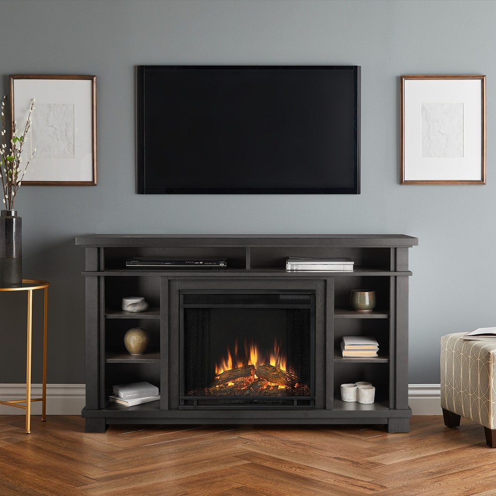 56 Belford Electric Fireplace Entertainment Center Gray - Real Flame