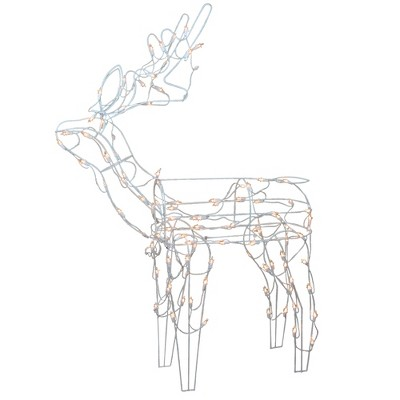 "Northlight 48"" Pre-Lit Clear Standing Reindeer Christmas Outdoor Decor"