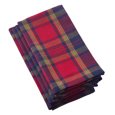 Glendora Classic Plaid Design Casual Cotton Napkin - Saro Lifestyle