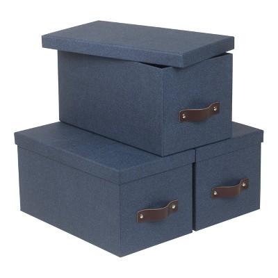 Set of 3 Silvia Canvas Media Box Blue - Bigso Box of Sweden