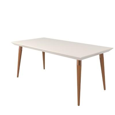 "70.86"" Utopia Modern Beveled Rectangular Dining Table with Glass Top Maple Cream/Off White - Manhattan Comfort"