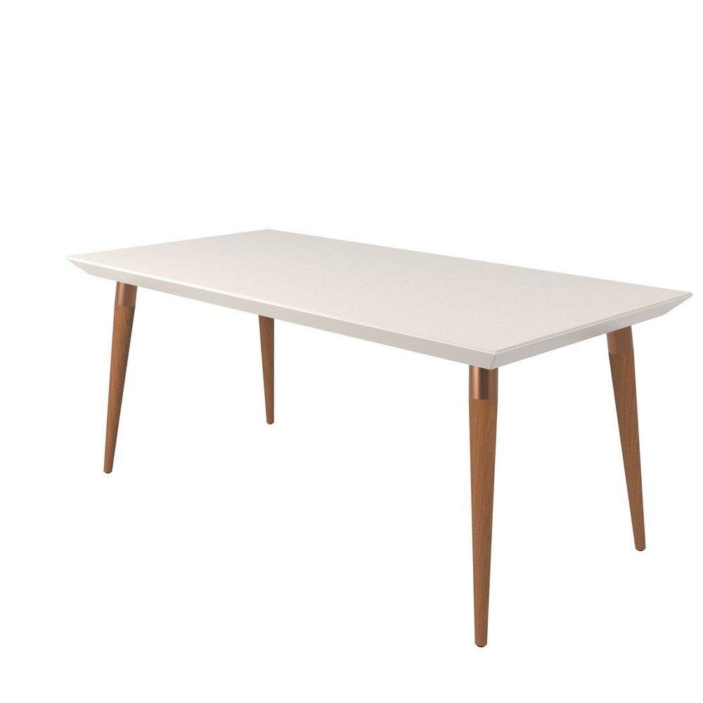 70.86 Utopia Modern Beveled Rectangular Dining Table with Glass Top Maple Cream/Off-White (Maple Cream/Beige) - Manhattan Comfort