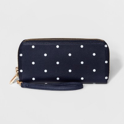 a16b06415435 Double Zip Around Polka Dot Wallet – A New Day™ Navy – Target ...