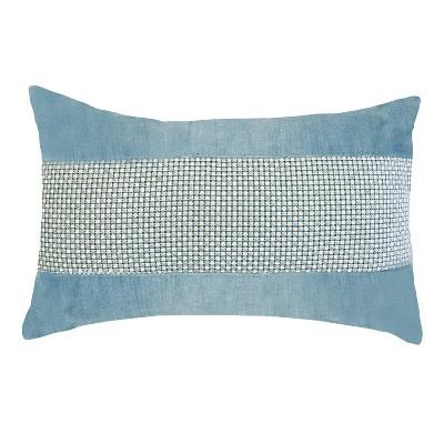"12""x20"" Celebrations Panne Velvet Lumbar Pillow Mineral Blue - Edie@Home"