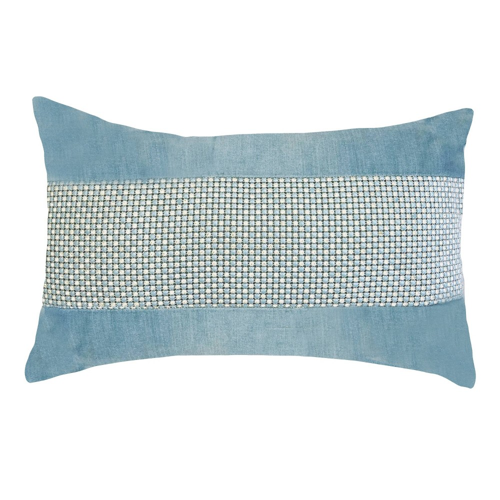 "Image of ""12""""x20"""" Celebrations Panne Velvet Lumbar Pillow Mineral Blue - Edie@Home"""