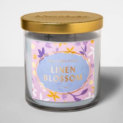 15.2oz Glass Jar 2-Wick Candle Linen Blossom - Opalhouse™