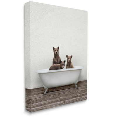 Stupell Industries Three Bear Cubs in Rustic Style Tub Vintage Bath