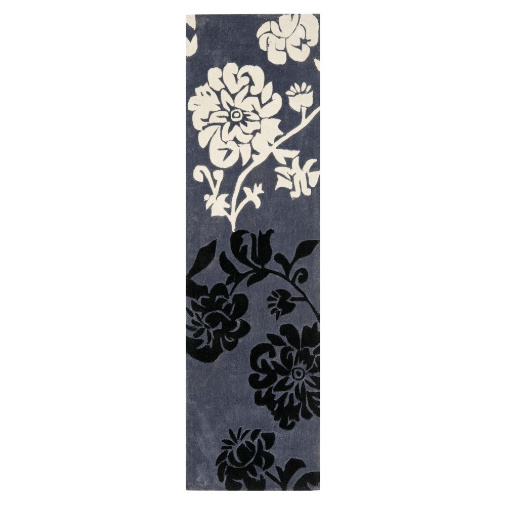 2'6X10' Floral Runner Dark Gray - Safavieh, Gray White