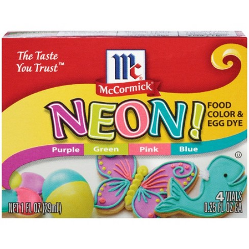 McCormick Assorted Neon Food Coloring Kit 4/.25oz (1oz) : Target