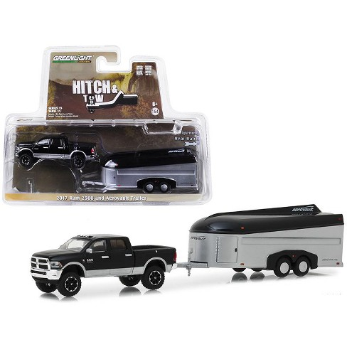 2017 Dodge Ram 2500 4x4 Pickup Truck Black With Silver Aerovault Trailer 1 64 Cast Models By Greenlight Target