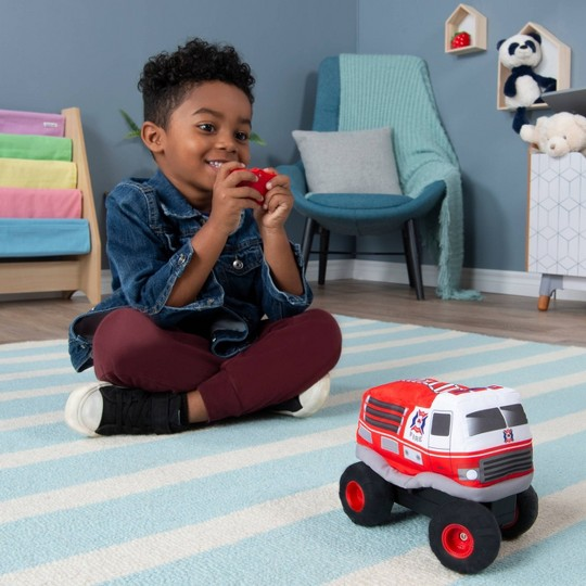 Plush Power RC Remote Control Fire Truck with Soft Body and 2-Way Steering image number null
