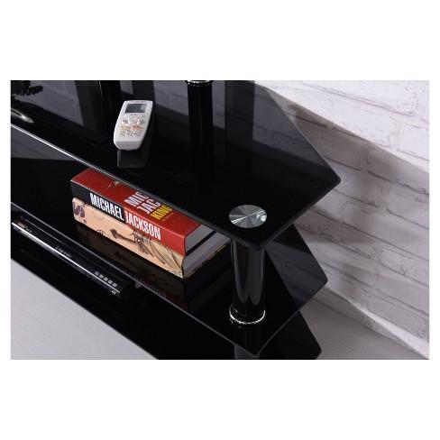 3 Shelf Glass Tv Stand With Mount Black 43 Hodedah Import Target