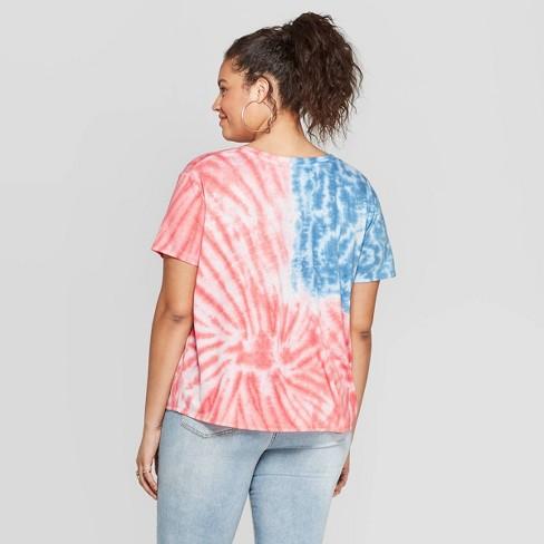 645eb5b83 Women's Plus Size Short Sleeve V-Neck Flag Tie Front T-Shirt - Fifth Sun  (Juniors') - Tie Dye : Target