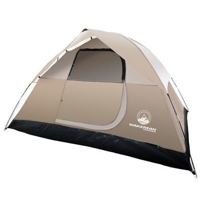 Wakeman 4-Person Tent Water Resistant Dome Tent For Camping With Removable Rain Fly and Carry Bag - Tan